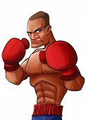 foto of pugilistic  - angry and strong pugilist looking to punch his opponent - JPG