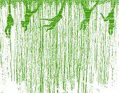 Ilustração de fundo Vector de gibões balançando pela floresta