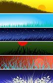 Conjunto de bandeiras de vetoriais editáveis de primeiros planos de grama