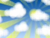Editable vector design of halftone cumulus clouds and sunshine
