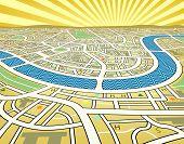Illustration of a street map landscape