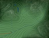 Editable vector illustration of a generic contour map of mountains