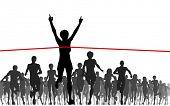 Editable vector illustration of a woman winning a race