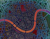 Illustration of a colorful street map without names