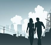 Editable vector illustration of a couple walking along an urban street