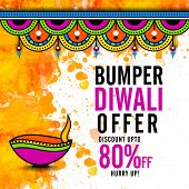 Постер, плакат: Bumper Diwali Offer Poster Biggest Sale Flyer Bumper Dhamaka Banner Discount Upto 80% Off Vector