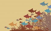 Vector illustration of fish and coral silhouettes