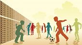 Editable vector colorful illustration of children playing football in a playground