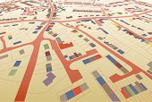 Angled view of a colorful illustrated housing map in a generic town