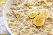 Porridge with banana and honey.  Traditional Scottish oatmeal.