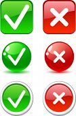 Set of validation buttons. Vector.