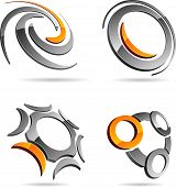 Set of letter 3d vector icons such logos.