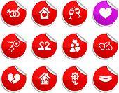 Love set of round glossy stickers.
