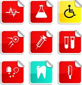 Medical set of square glossy stickers.