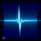 Blue heart beat. Ekg graph.
