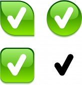 picture of check mark  - Check glossy vibrant web buttons - JPG