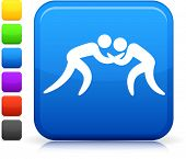 Wrestling icon on square internet button Six color options included.