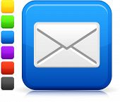 email icon on square internet button  Six color options included.