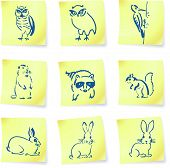 forest creatures drawings on post it notes original vector illustration 6 color versions included