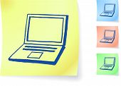 Hand-drawn laptop computer on sticky note original vector illustration Post it note sketches  Three color version included