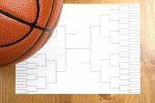 image of ncaa  - A blank basketball tournament bracket and a basketball - JPG