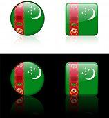 turkmenistan Flag Buttons on White and Black Background Original Vector Illustration AI8 Compatible