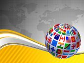 stock photo of world-globe  - Flags Globe with World Map Original Vector Illustration - JPG