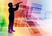 flute musician on Abstract Background Original Vector Illustration