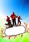Live Music Band on Tropical Frame Background Original Vector Illustration