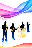 Live Band on Colorful Abstract Background Original Vector Illustration