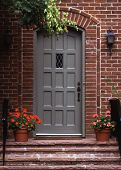stock photo of front door  - The front door to a brick house - JPG