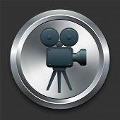 Ícone de câmera de filme na Internet Metal botão Original Vector Illustration