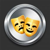 Comedy and Tragedy Masks Icon on Metal Internet Button Original Vector Illustration