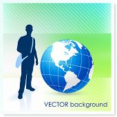 stock photo of sling bag  - Young Traveler with Globe on Vector Background Original Illustration - JPG