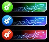 Zahnrad-Symbol auf Tcl/Tk farbig Button Set-Original Illustration