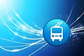Trolley Button on Blue Abstract Light Background Original Illustration