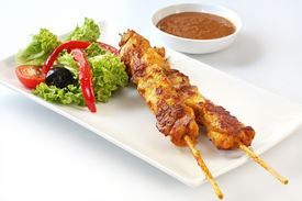picture of thai food  - Chicken kebabs and salad - JPG