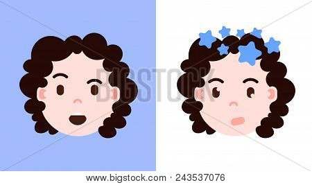 Set Girl Head Emoji Personage