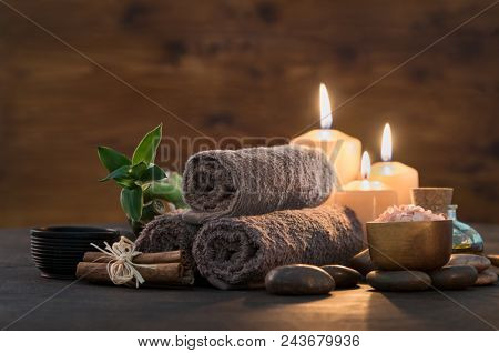 Brown towels with bamboo and