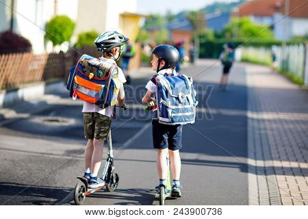 Two School Kid Boys In