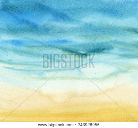 poster of Abstract Watercolor Gradient Sea And Sand. The Color Splashing In The Paper. It Is A Hand Drawn. Pri