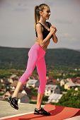 Sensual Sexy Woman. Sexy Woman Keep Balance On Natural Landscape, Training. Woman Athlete Training O poster
