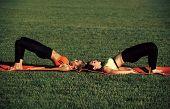 Sensual Woman Body. Sport Women Do Yoga Exercises, Training. Sport, Yoga, Pilates Training Workout poster