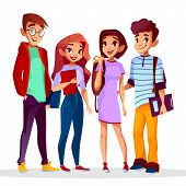 Vector Cartoon Back To College Concept With Cheerful Students Set. Male Female Caucasian Teenagers S poster
