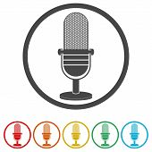 Microphone Icon, Vector Microphone Icons Set, 6 Colors Included poster