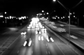 Traffic, Speed, Motion Concept. Highway Road With Car Trails At Night On Dark Sky Background. Transp poster