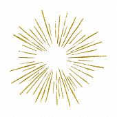 Sunshine. Explosion Vector Illustration. Rays Element. Sunburst, Starburst Shape On White. Golden Ra poster