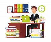 Busy Man Office Worker. Businessman Working Behind Laptop And Doing Office Document Paperwork. Every poster