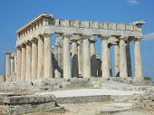 stock photo of piraeus  - Part of the Aphaia Temple located in Aegina island  - JPG