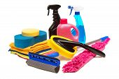 Tools For Car Wash And Clean Consisting Of Sponge, Duster, Brush, Chemical, Microfiber Brush Isolate poster